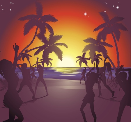 beach party people: Illustration of dancers on the beach at sunset enjoying a party.