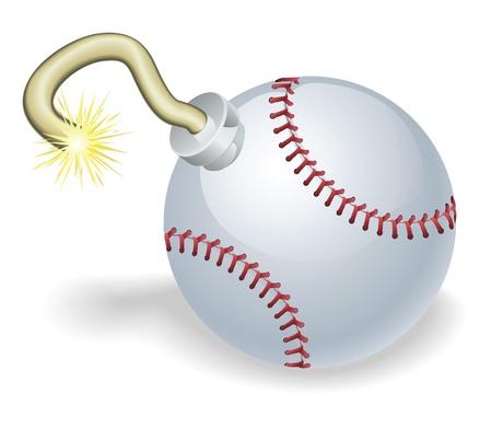 pelota de beisbol: Bomba de tiempo en forma de concepto de pelota de b�isbol. Representa la cuenta regresiva a la explosiva crisis evento o b�isbol Vectores