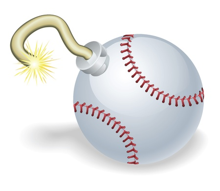 baseball cartoon: Time bomb in shape of baseball ball concept. Represents countdown to explosive event or baseball crisis