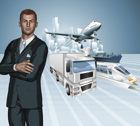 freight: Logistics business concept background. Businessman, aeroplane truck, train, cargo ship and city. Illustration