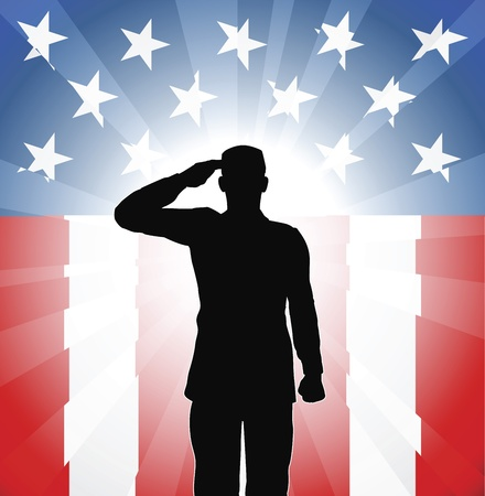 A patriotic soldier saluting in front of an American background Illustration