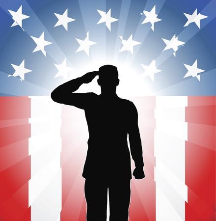 silhouette soldat: Un soldat patriote saluant devant un fond am�ricain