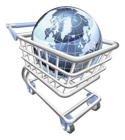 containing: Conceptual illustration. A shopping cart containing a globe Illustration