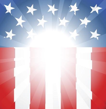 bandera americana: Fondo de bandera estadounidense abstracto con copyspace y foco en centro listo tomar su texto o imagen Vectores