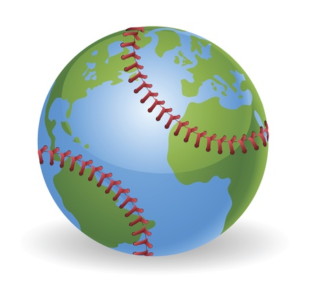 base ball: World globe baseball ball concept illustration