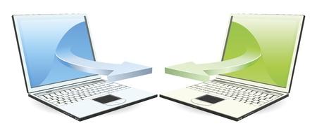 Laptops communicating via wireless technology concept Stock Vector - 9851537