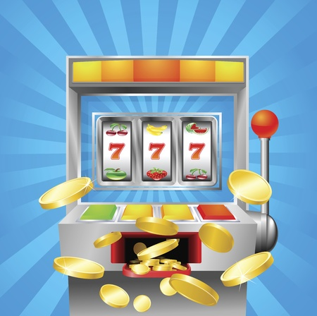 machine: A slot fruit machine winning on 7s. Gold coins fly out at the viewer.