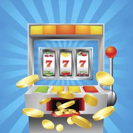 tragamonedas: Una m�quina de ranura fruto de 7s. Monedas de oro volar al espectador.