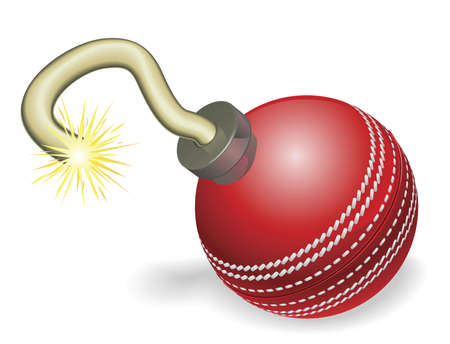 criket: Retro cartoon cricket ball cherry bomb with lit fuse burning down. Concept for countdown to big cricketing event or crisis. Illustration