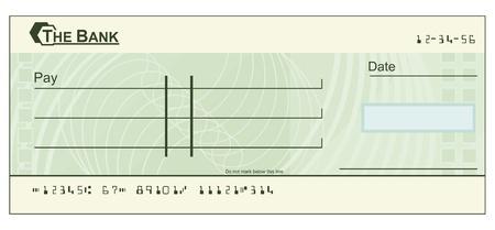personal banking: L'illustrazione di un assegno in bianco verde Vettoriali