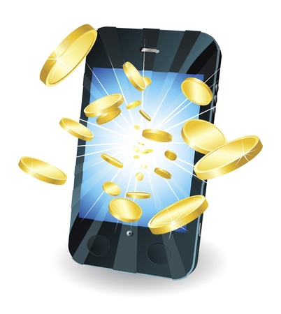 mobile payment: Conceptual illustration. Money in form of gold coins flying out of new style smart mobile phone.
