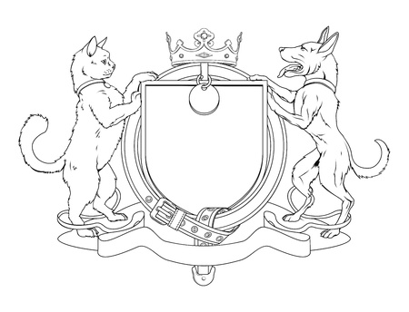 kennel: Cat and dog pets heraldic shield coat of arms. Notice the collar instead of garter.