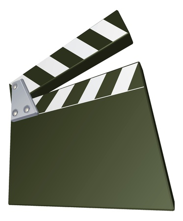 A film clap clapper board clapperboard illustration with dynamic perspective. Copyspace on the board for your text. Vector