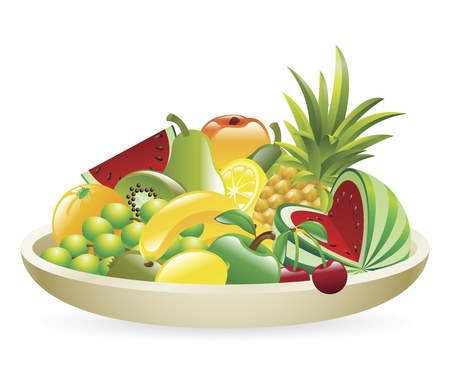 An Illustration of a bowl of fruit Vector