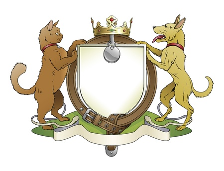 Cat and dog pets heraldic shield coat of arms. Notice the collar instead of garter. Vector