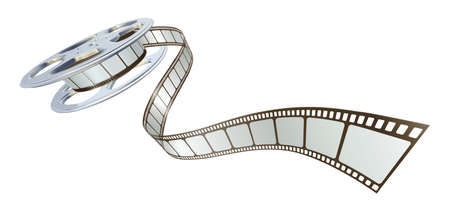 film industry: Movie film spooling out of film reel. Symbol for cinema.