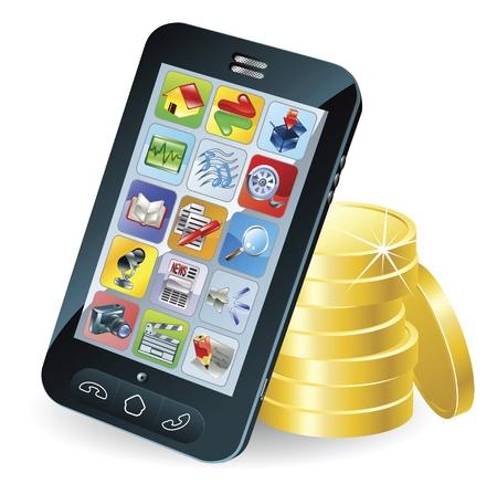 stack of cash: Moderno m�vil inteligente tel�fono y monedas Ilustraci�n conceptual. Vectores