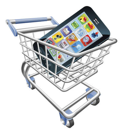 mobile app: An illustration of a shopping cart trolley with smart phone mobile phone