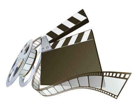 reel: A clapperboard and film spooling out of film reel illustration. Dynamic perspective and copyspace on the board for your text. Illustration