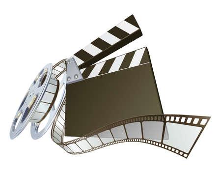 battant: Un clap du film et de bobinage de l'illustration de bobine de film. Perspective dynamique et copyspace sur la planche pour votre texte.