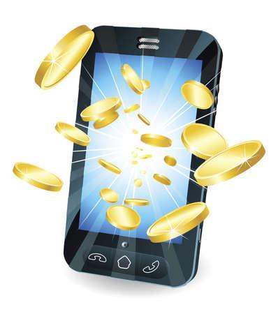 phone money: Ilustraci�n conceptual. Dinero en forma de monedas de oro volando de nuevo tel�fono m�vil inteligente de estilo.