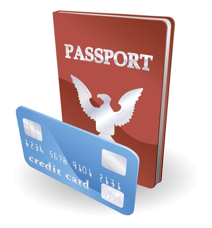 pass: Passport and credit card illustration. Personal identity concept.