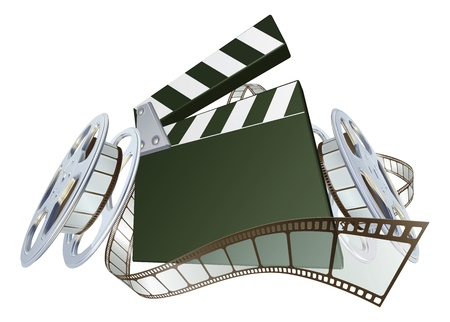 clapper: A clapperboard and film spooling out of film reel illustration. Dynamic perspective and copyspace on the board for your text. Illustration