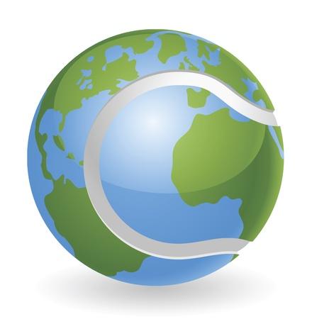 tennis tournament: World globe tennis ball concept illustration