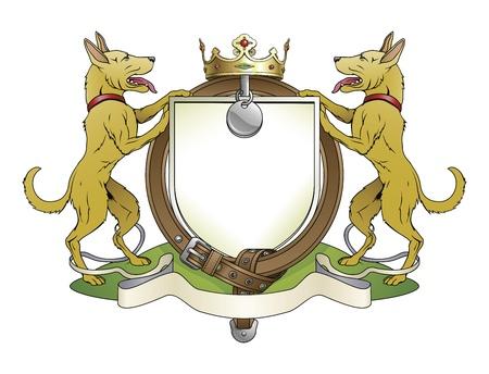 Dog pets heraldic shield coat of arms. Notice the collar instead of garter. Vector