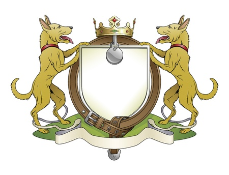 shepherd: Dog pets heraldic shield coat of arms. Notice the collar instead of garter. Illustration