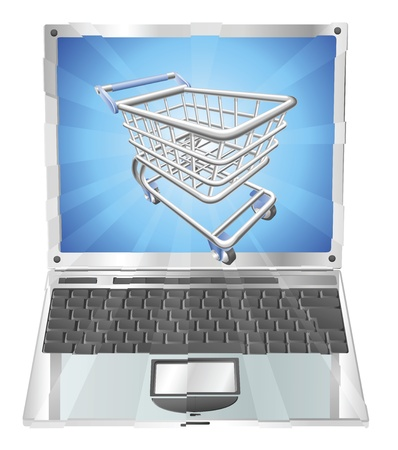 supermarket trolley: Internet shopping laptop concept illustration. Shopping cart flying out of laptop screen