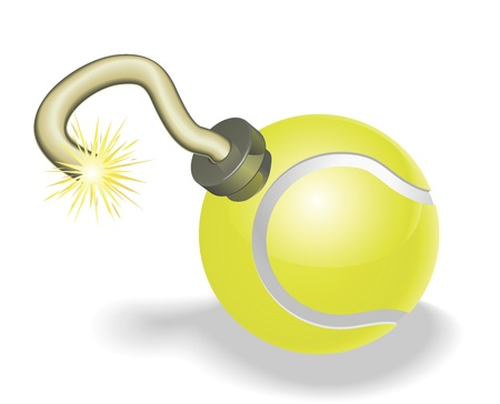 Retro cartoon tennis ball cherry bomb with lit fuse burning down. Concept for countdown to big tennis event or crisis. Vector