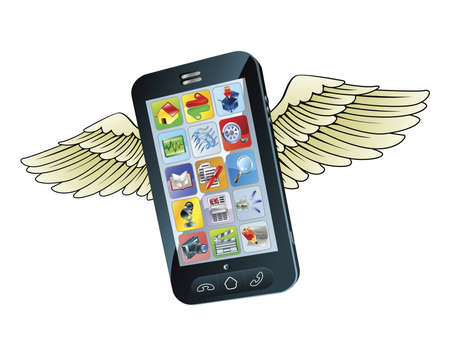 touchscreen phone: An illustration of a  new smart mobile phone flying with wings Illustration