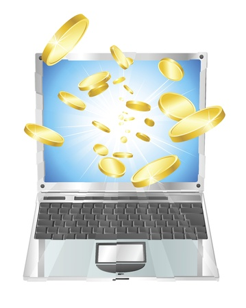 Conceptual illustration. Money in form of gold coins flying out of laptop computer. Stock Vector - 10013936