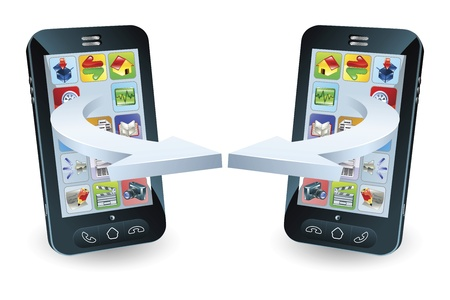 Smartphones communicating via wireless technology concept Vector