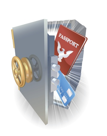 creditcard: Concepto de protecci�n de identidad. Tarjeta de cr�dito y pasaportes en metal seguro.