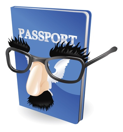 Identity theft concept. Passport wearing a disguise of fake glasses and nose. Illustration