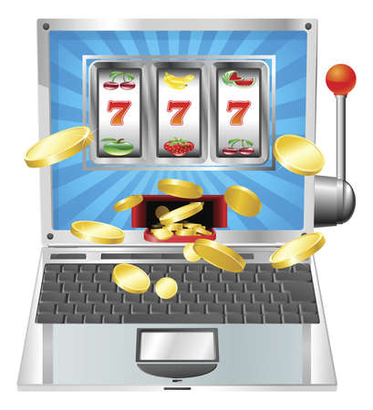 money online: Laptop fruit machine online gambling win concept