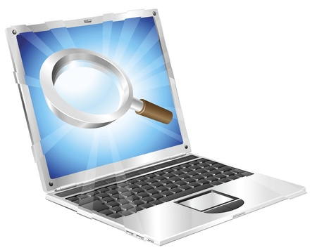Magnifying glass search icon coming out of laptop screen concept  Stock Vector - 10013940