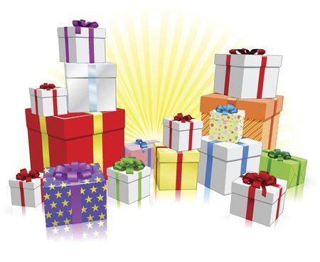 stapel papieren: Veel mooi verpakte cadeautjes voor een feest zoals een verjaardag of Kerstmis