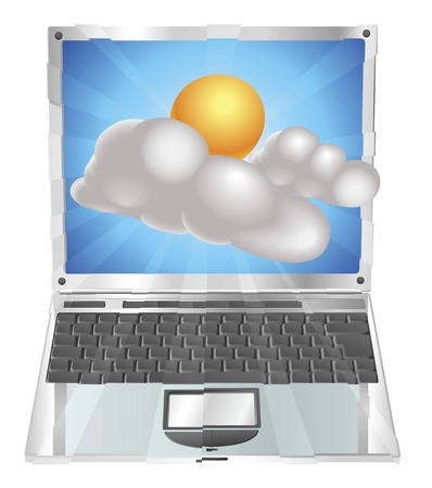 coming out: Weather sun and cloud icon coming out of laptop screen concept