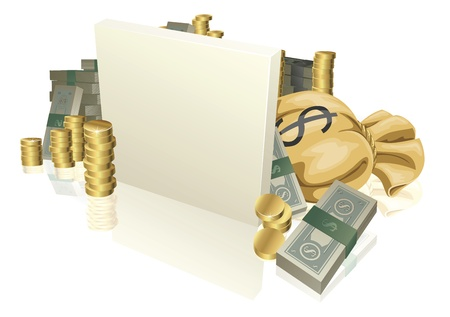 Sign in the middle of lots of cash and gold coins with copyspace Vector