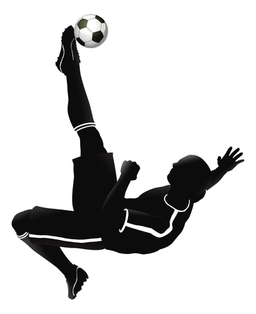 goal kick: Very high quality detailed soccer football player illustration.