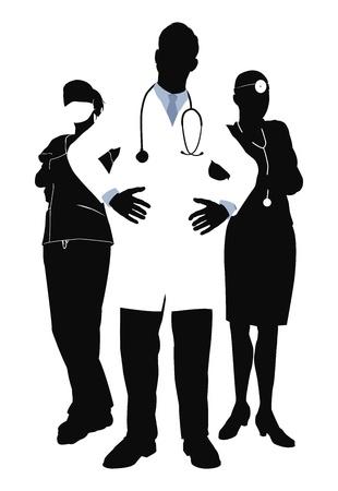 personal medico: Illutsration de tres miembros de un equipo m�dico