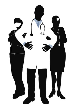 nurse uniform: Illutsration of three members of a medical team