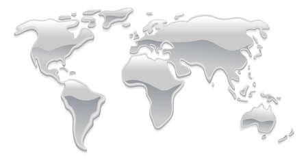 mapas conceptuales: Hizo un mapa del mundo con líquido gotitas de metales plateadas como mercurio, formando los continentes Vectores