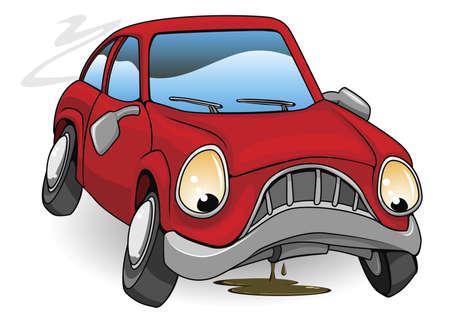 автомобили: Иллюстрация печально разбит красный автомобиль Мультфильм
