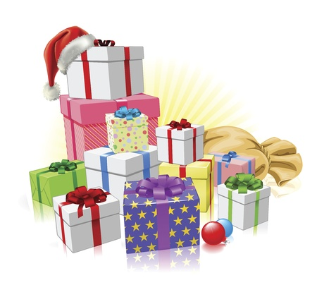 christmas gifts: Christmas gifts with Santa hat, sack and baubles Illustration