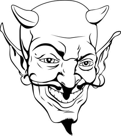 devil cartoon: A black and white cartoon style devil face Illustration