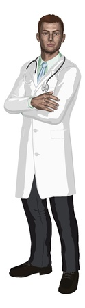 white coat: Illustration of a young doctor with stethoscope in a white coat